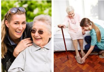 Caregivers helping elderly ladies, home care